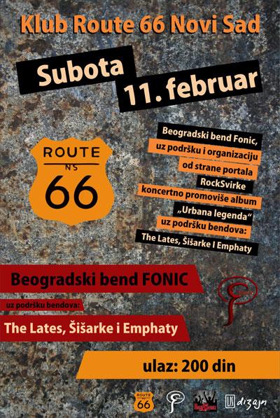 Fonic (predgrupe: The Lates, Šišarke, Emphaty) @ Klub Route 66, Novi Sad