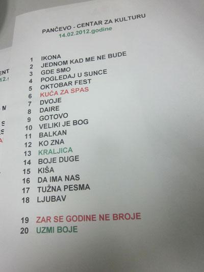 N'Bebe - Set lista @ Pančevo (14.02.2012.)