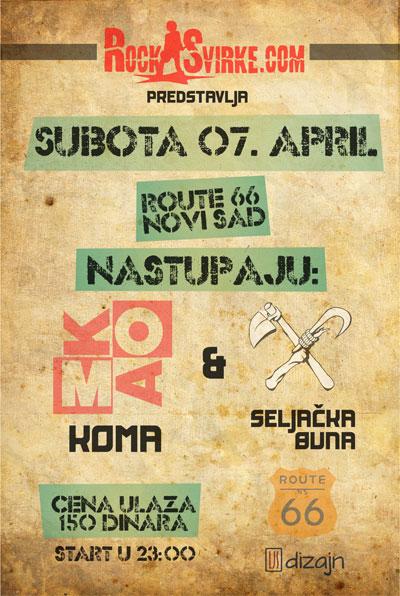 Koma i Seljačka buna @ Route 66, Novi Sad